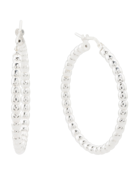 Made In Italy Sterling Silver Beaded Hoop Earrings