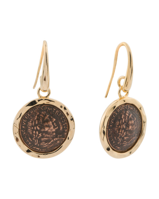 Made In Italy Gold Plated Bronze Coin Earrings
