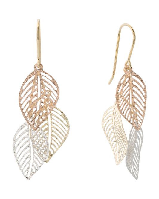 Made In Italy 14k Tricolor Gold Triple Leaf Earrings