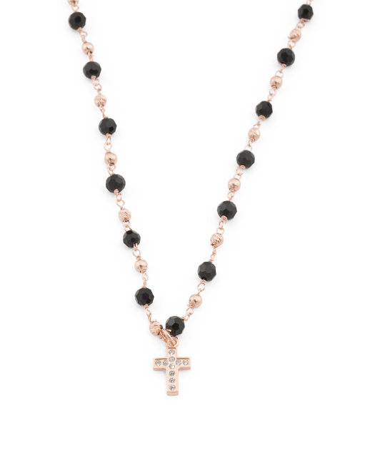 Made In Italy Rose Gold Plate Sterling Silver Cross Necklace