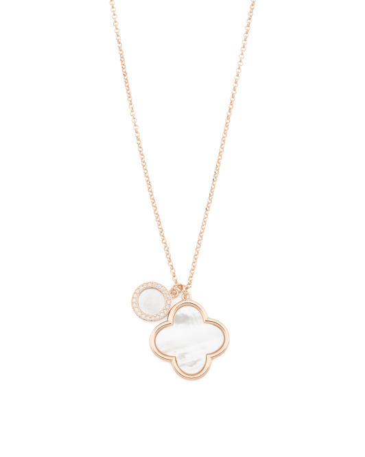 Made In Italy Rose Gold Plated Sterling Silver Quatrefoil Necklace
