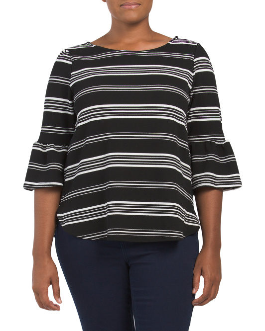 Plus Striped Crepe Bell Sleeve Top
