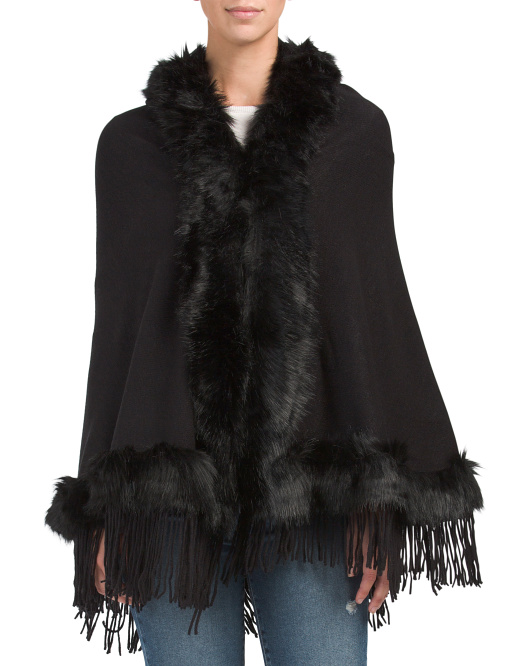 Solid Ruana With Faux Fur Trim