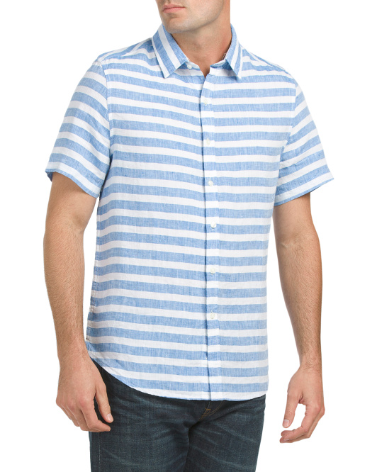 Short Sleeve Striped Linen Shirt