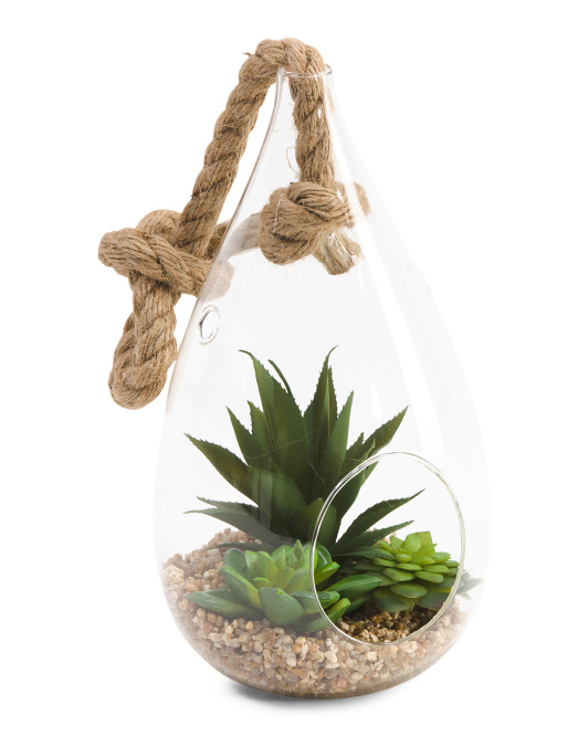 11in Hanging Faux Succulent Plant