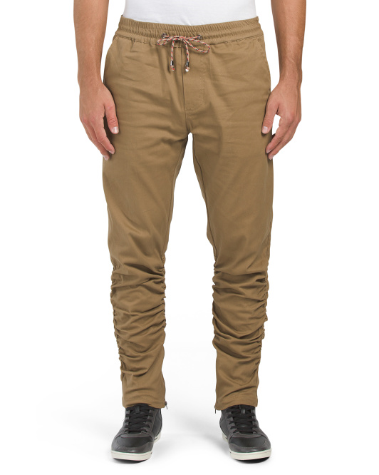 Ruched Stretch Twill Joggers