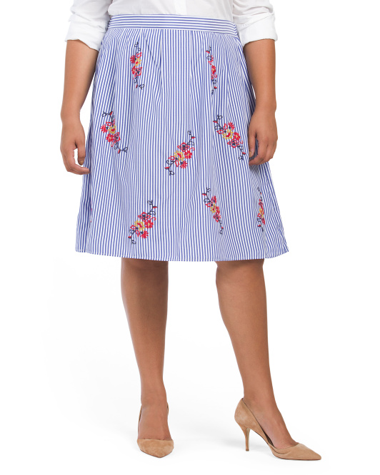 Plus Juniors Embroidered Skirt