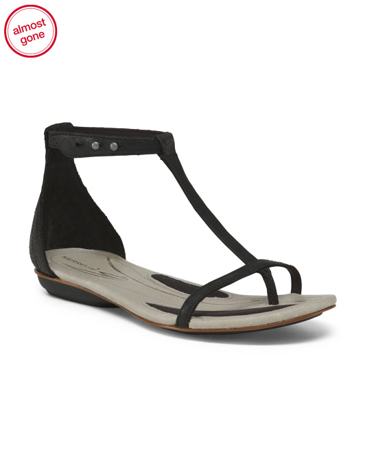 T Strap Comfort Leather Sandals