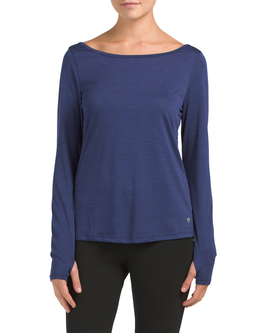 Long Sleeve Top With Keyhole Back