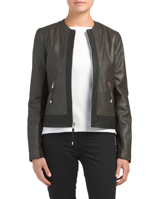 Collarless Two-tone Leather Jacket