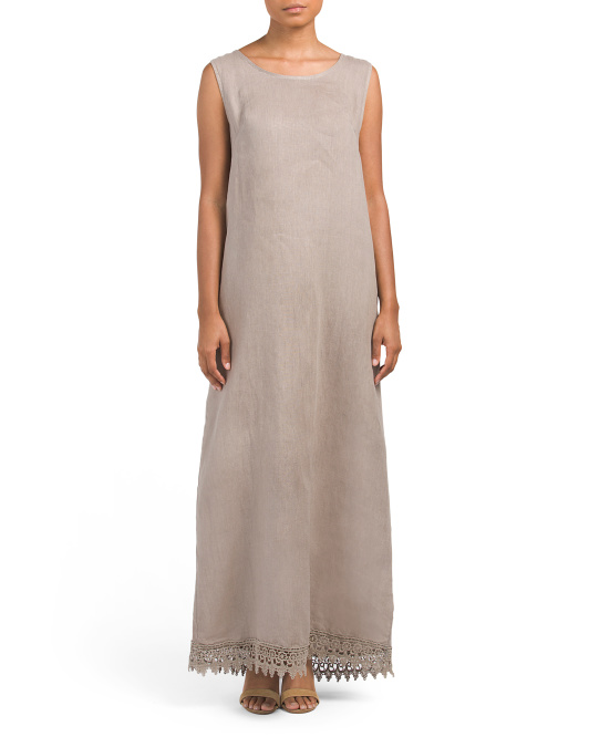 Made In Italy Linen Tie Back Maxi Dress