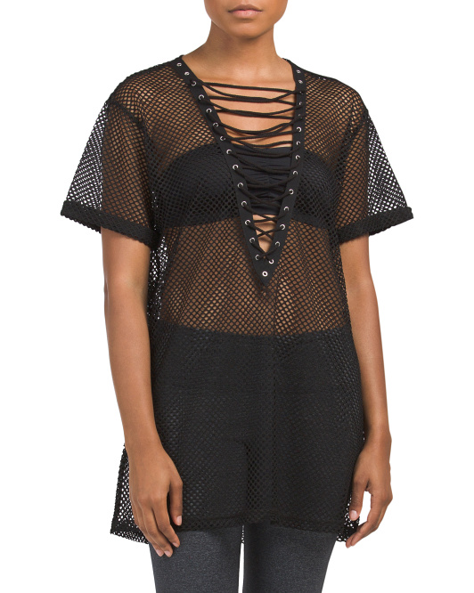 Juniors Lace Up Front Mesh Tee