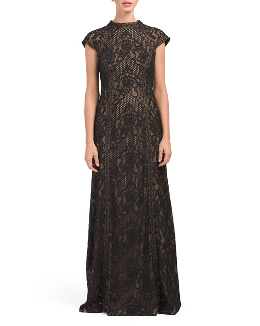 Mock Neck Lace Gown