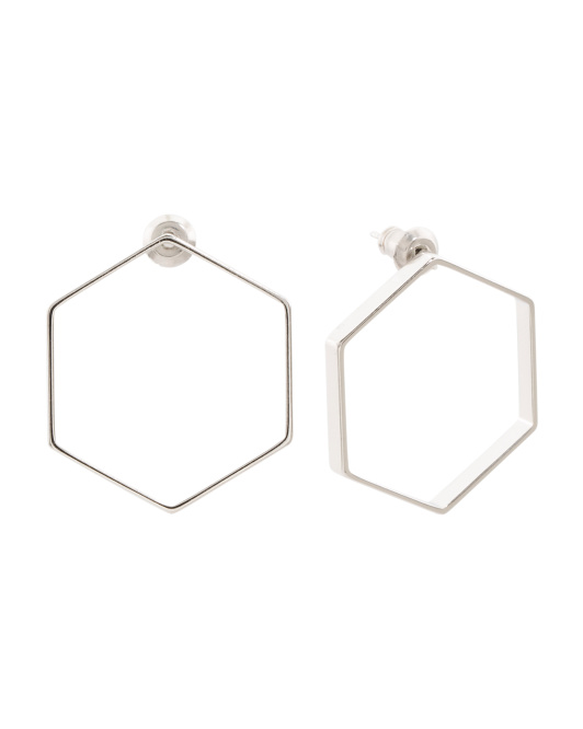 Made In USA Rhodium Plated Hexagon Earrings