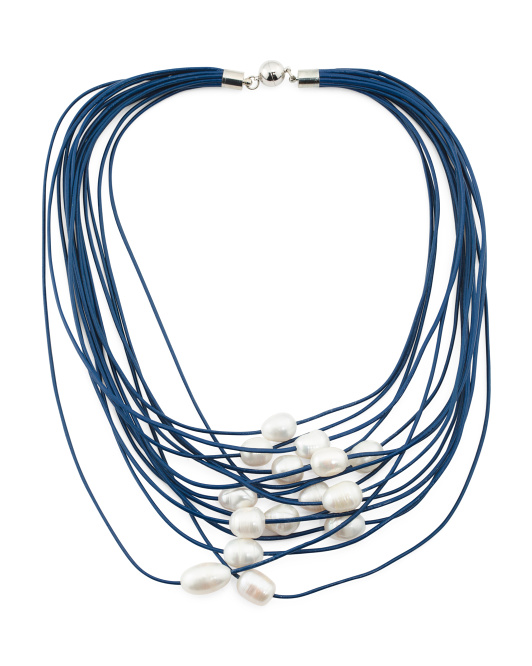 Multi Strand Fresh Water Pearl Leather Necklace