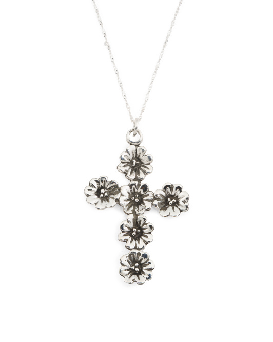 Made In Mexico Sterling Silver Flower Cross Necklace