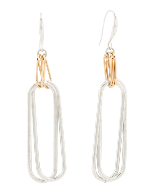 Two Tone Oval Link Double Drop Earrings