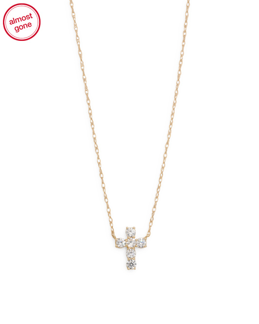 Made In USA 14k Gold Cubic Zirconia Cross Pendant Necklace