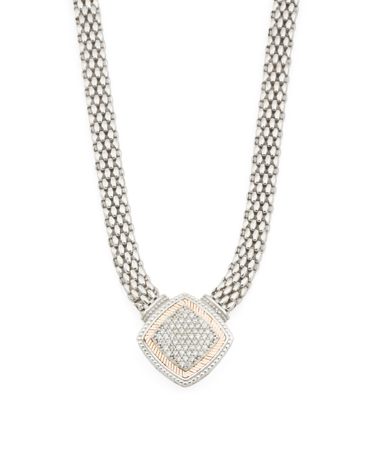 Sterling Silver And 14k Gold Cubic Zirconia Mesh Statement Necklace