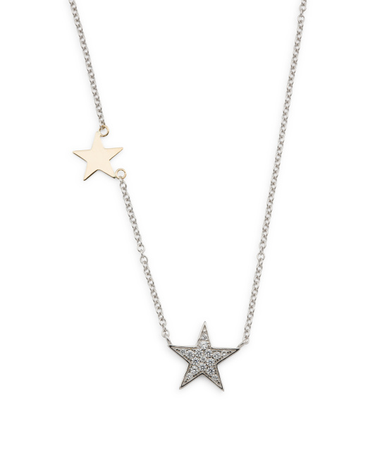 Sterling Silver With 14k Gold Double Star Necklace