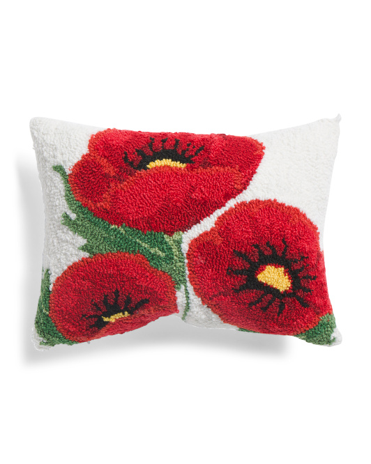 12x16 Hand Hooked Poppy Pillow