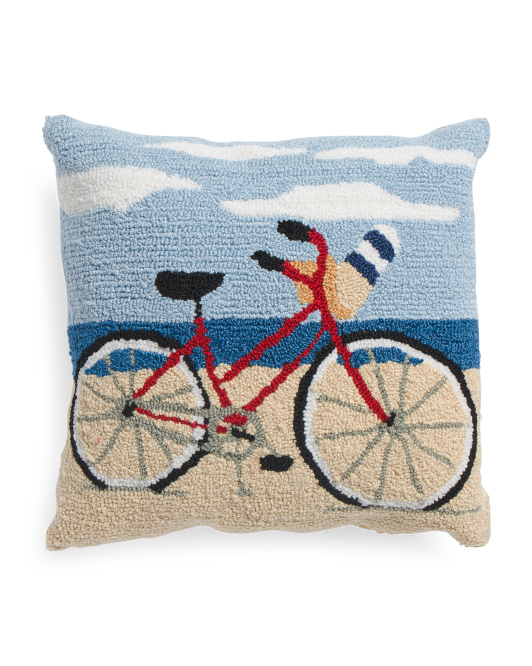 18x18 Hand Hooked Beach Bike Pillow