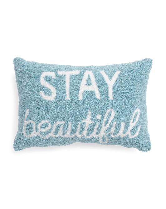 12x18 Stay Beautiful Hand Hooked Pillow