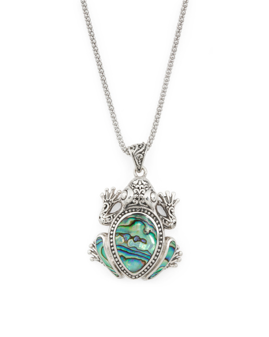 Made In Bali Sterling Silver Abalone Frog Necklace