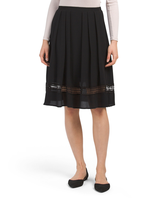 Juniors Crepe Skirt With Mesh Inset