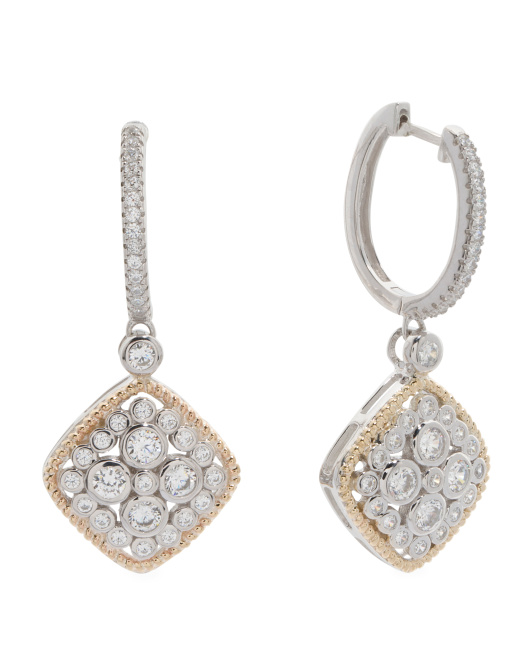 Made In Thailand Sterling Silver And 14k Gold Cz Earrings