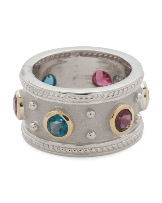 Sterling Silver And 14k Etruscan Multi Gemstone Ring
