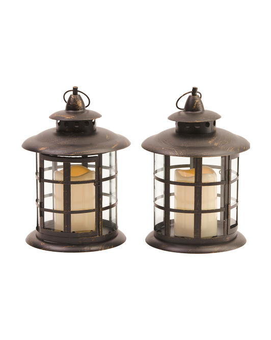 Set Of 2 Round Metal Led Lanterns