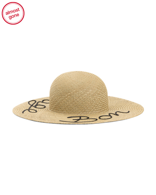 Made In Italy Bon Voyage Straw Brim Hat