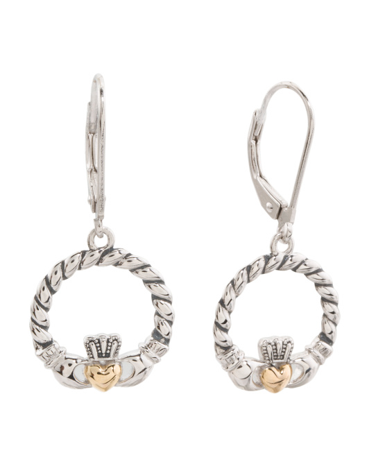Sterling Silver And Gold Plated Claddagh Earrings