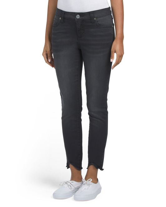 Skinny Jeans With Uneven Step Hem