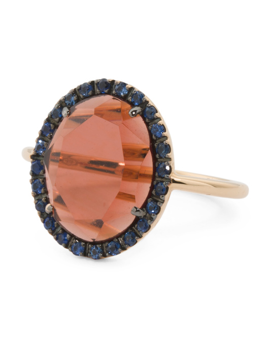 Made In Italy 18k Rose Gold Garnet And Blue Sapphire Ring