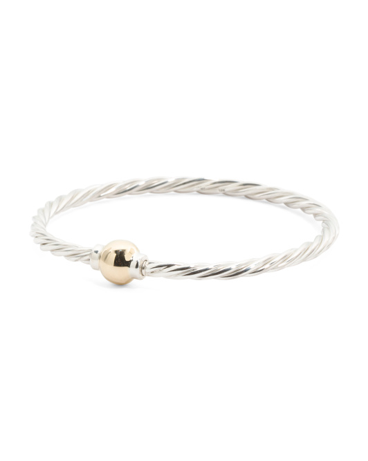 14k Gold And Sterling Silver Twist Screw Ball Bracelet
