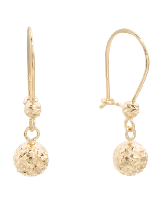 Made In USA 14k Gold Diamond Cut Rope Earrings
