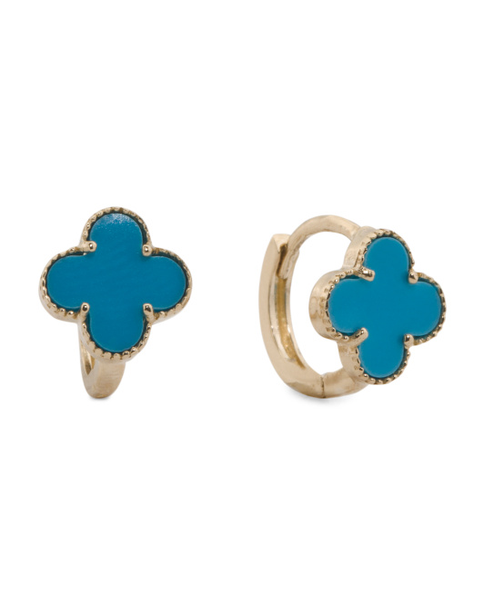 Made In USA 14k Gold Turquoise Quatrefoil Huggie Earrings