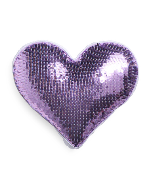 Kids Heart Shaped Sequin Pillow