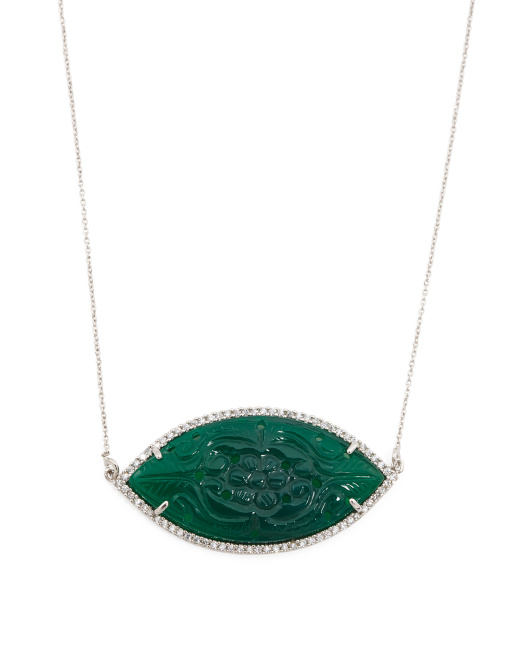 Made In India Sterling Silver Carved Green Onyx Necklace