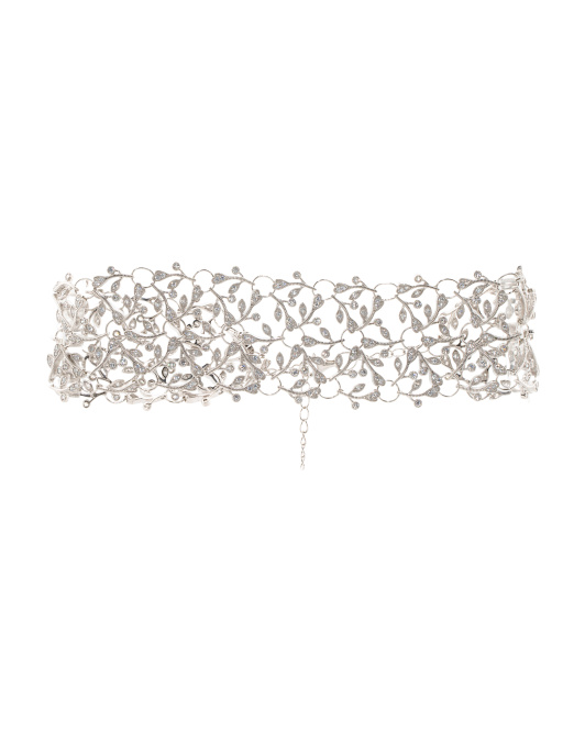 Platinum Plated Sterling Silver Cubic Zirconia Choker Necklace