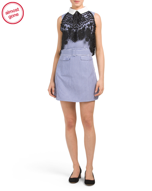 Peter Pan Collar Poplin Dress With Lace Overlay