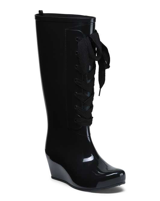 High Shaft Lace Up Rain Boots