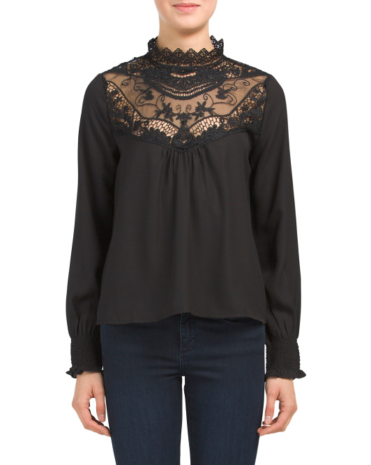 Juniors Lace Victorian Top