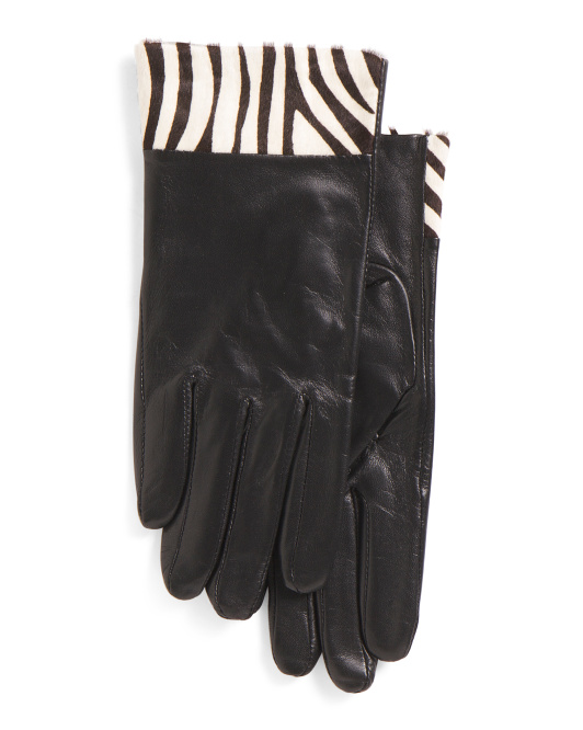 Leather Gloves With Haircalf Trim