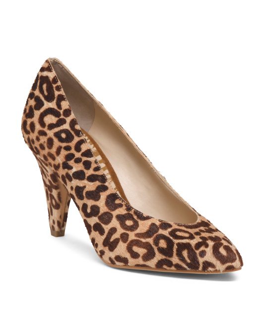 Leopard Haircalf Pumps With Covered Heel