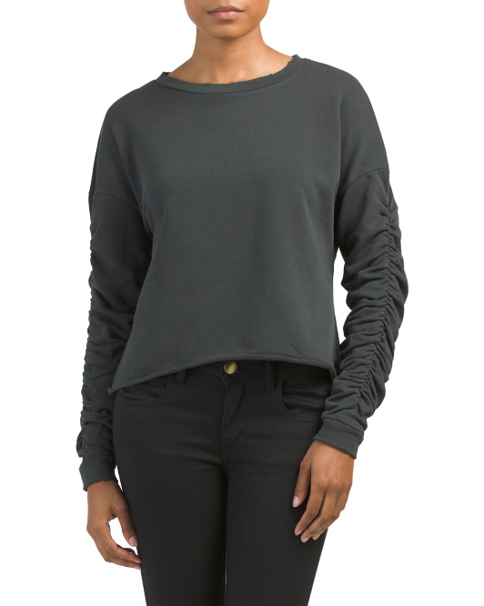 Raw Edge Ruched Sleeve Sweatshirt