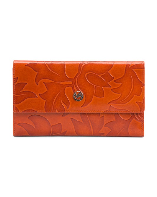 Made In Italy Snap Tulip Leather Wallet
