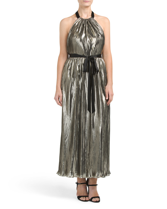 Made In USA Halter Metallic Gown